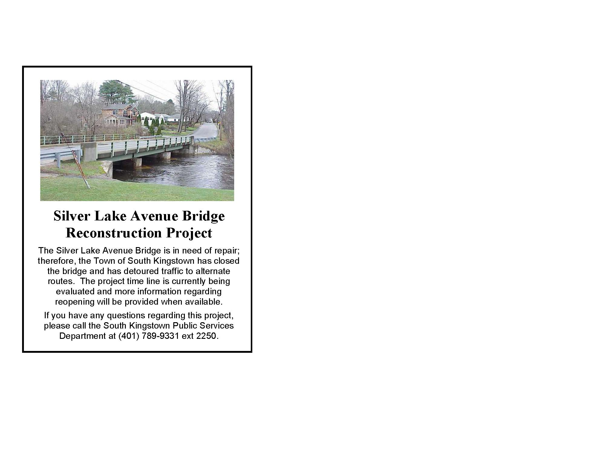 Silver Lake Bridge Closure Notice 2018