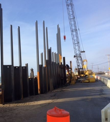 Matunuck Beach Road sheet pile wall installation project
